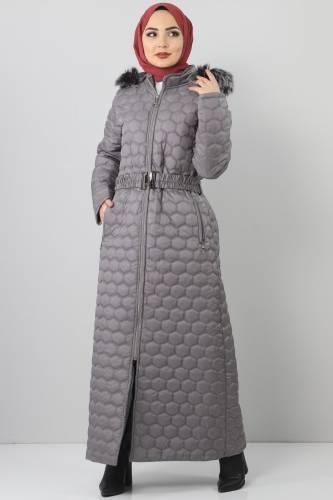 Tesettür Dünyası - Oversized quilted coat TSD1877 Gray