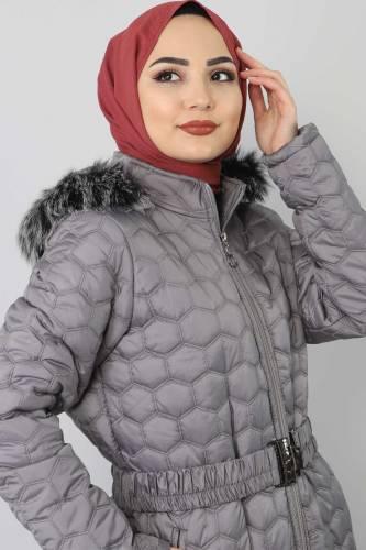 Tesettür Dünyası - Oversized quilted coat TSD1877 Gray (1)