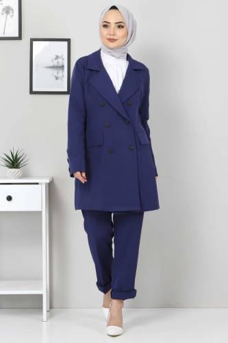 Pantolon Ceket İkili Takım TSD10754 İndigo - Thumbnail