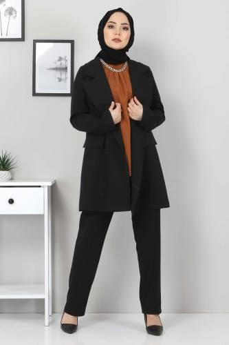 Pantolon Ceket İkili Takım TSD10754 Siyah - Thumbnail