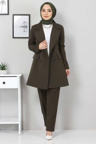 Tesettür Dünyası - Pantolon Ceket İkili Takım TSD10754 Haki
