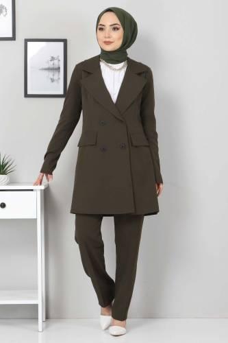 Tesettür Dünyası - Pantolon Ceket İkili Takım TSD10754 Haki (1)
