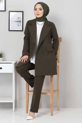 Pantolon Ceket İkili Takım TSD10754 Haki - Thumbnail