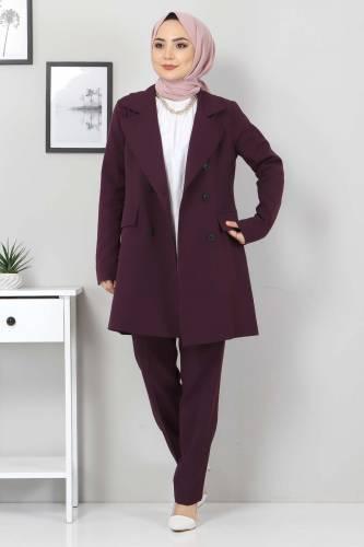 Pantolon Ceket İkili Takım TSD10754 Mürdüm - Thumbnail
