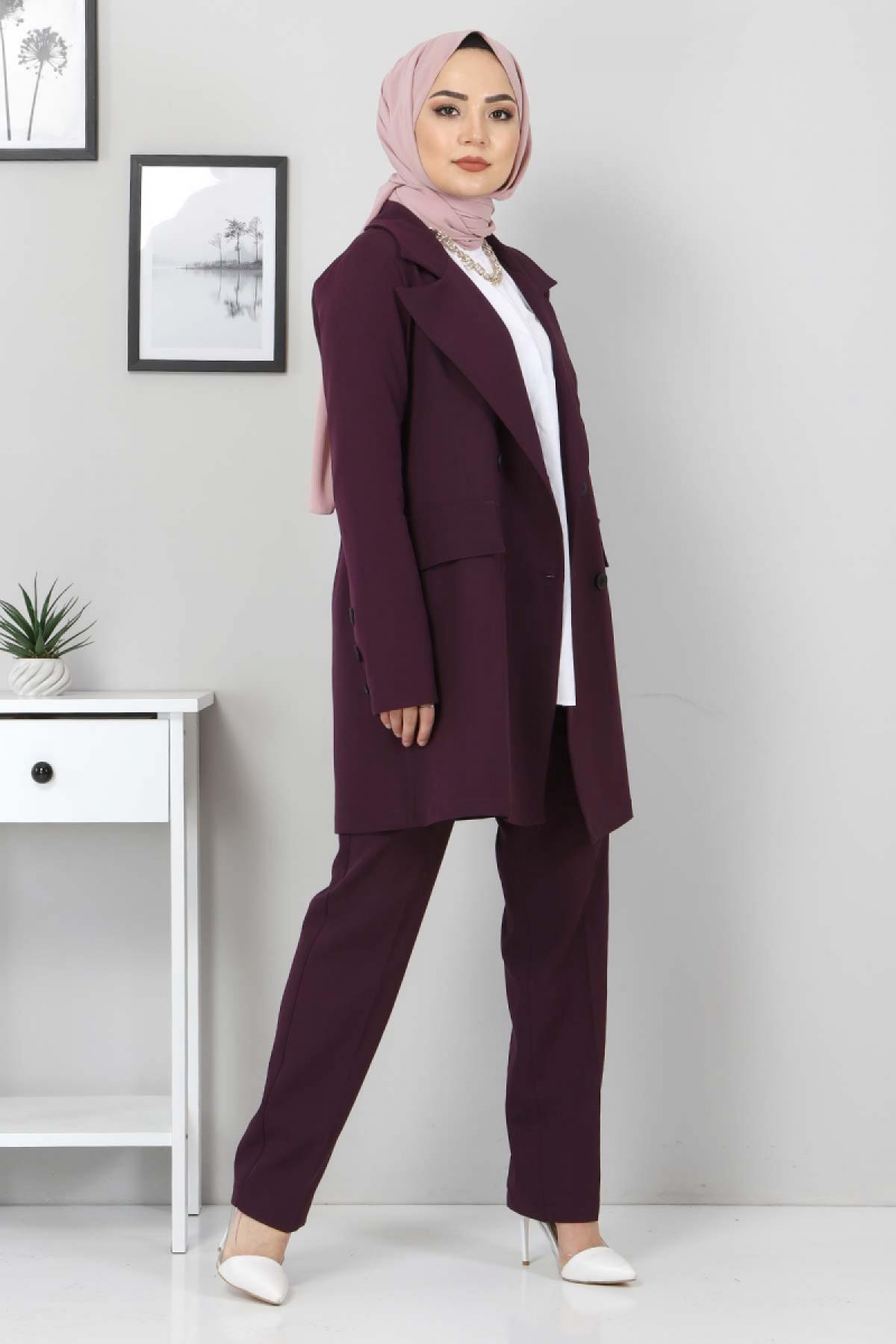Pantolon Ceket İkili Takım TSD10754 Mürdüm