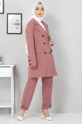Pantolon Ceket İkili Takım TSD10754 Pudra - Thumbnail