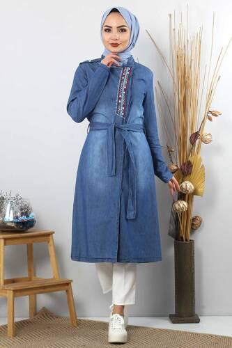 Tesettür Dünyası - Patterned Embroidered Hijab Jeans Tunic TSD2088 Dark Blue