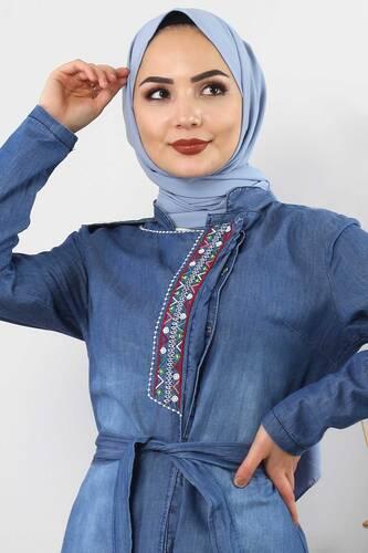 Tesettür Dünyası - Patterned Embroidered Hijab Jeans Tunic TSD2088 Dark Blue (1)
