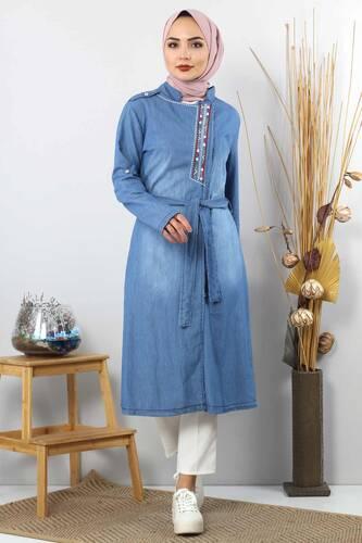 Tesettür Dünyası - Patterned Embroidered Hijab Jeans Tunic TSD2088 Light Blue