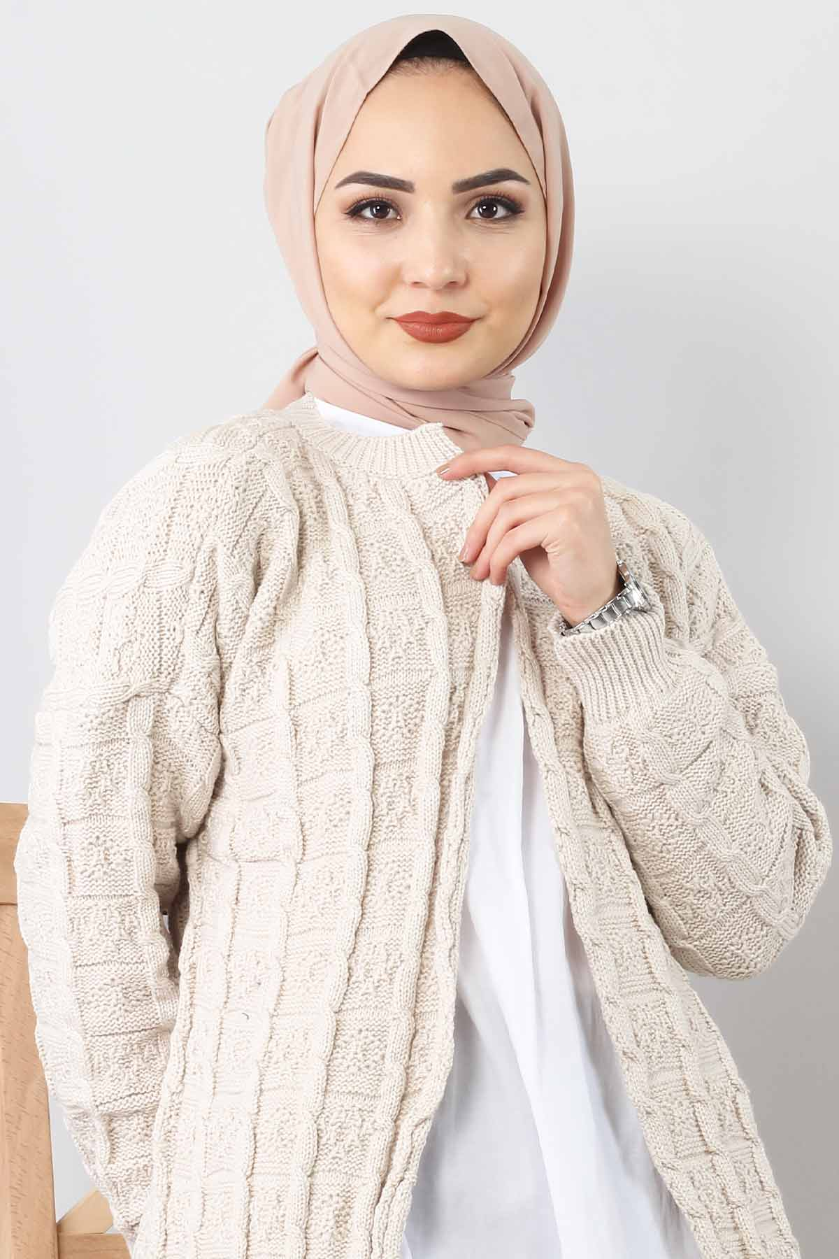 Patterned Knitwear Cardigan TSD2016 Beige