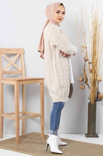 Patterned Knitwear Cardigan TSD2016 Beige - Thumbnail