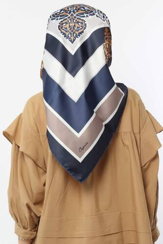 Patterned Scarf E007 Navy Blue - Thumbnail