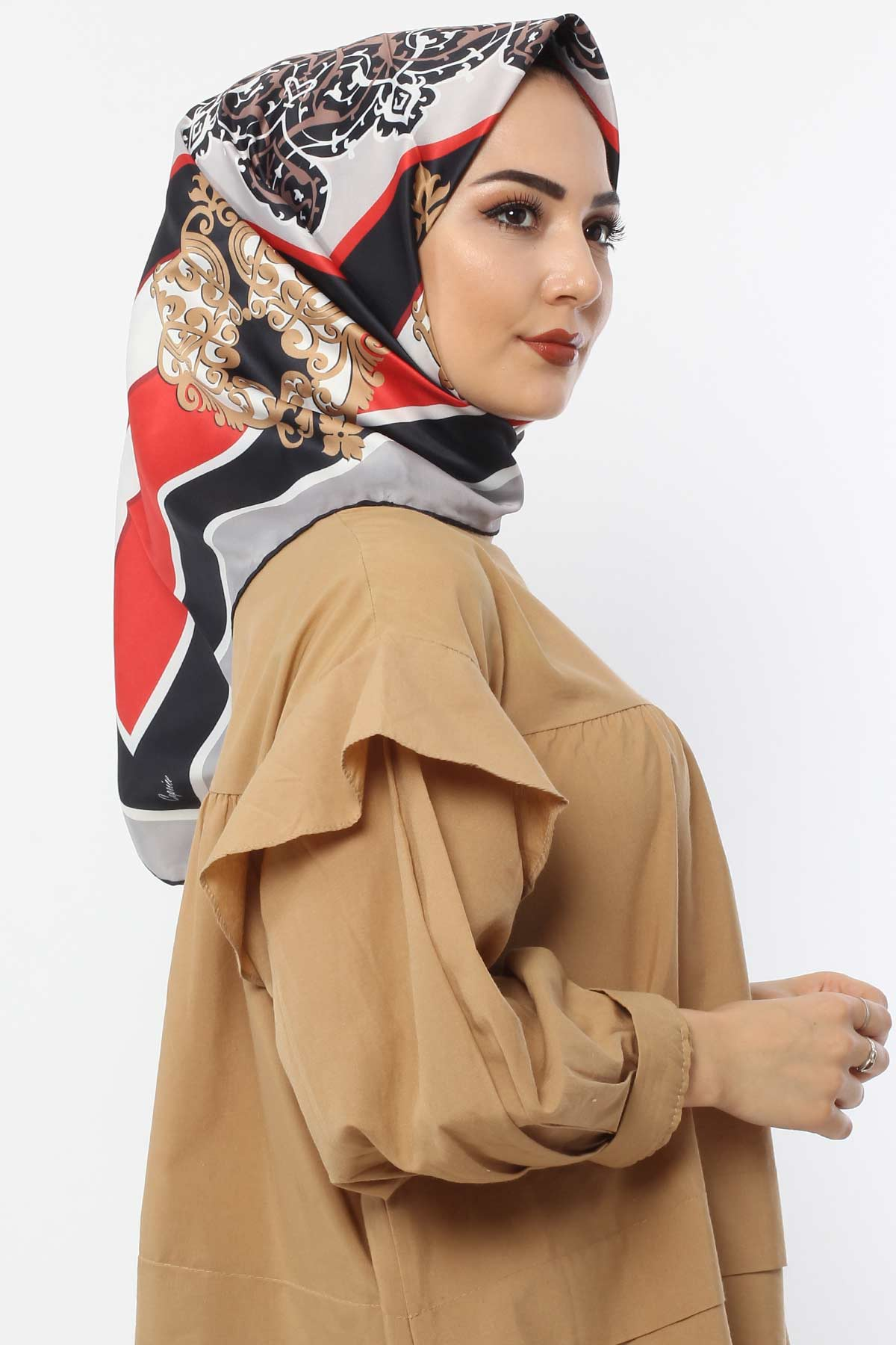 Patterned Scarf E007 Red