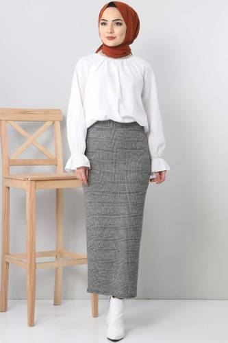 Tesettür Dünyası - Patterned Winter Slim Skirt TSD3249 Gray