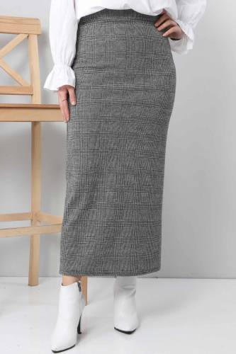 Tesettür Dünyası - Patterned Winter Slim Skirt TSD3249 Gray (1)