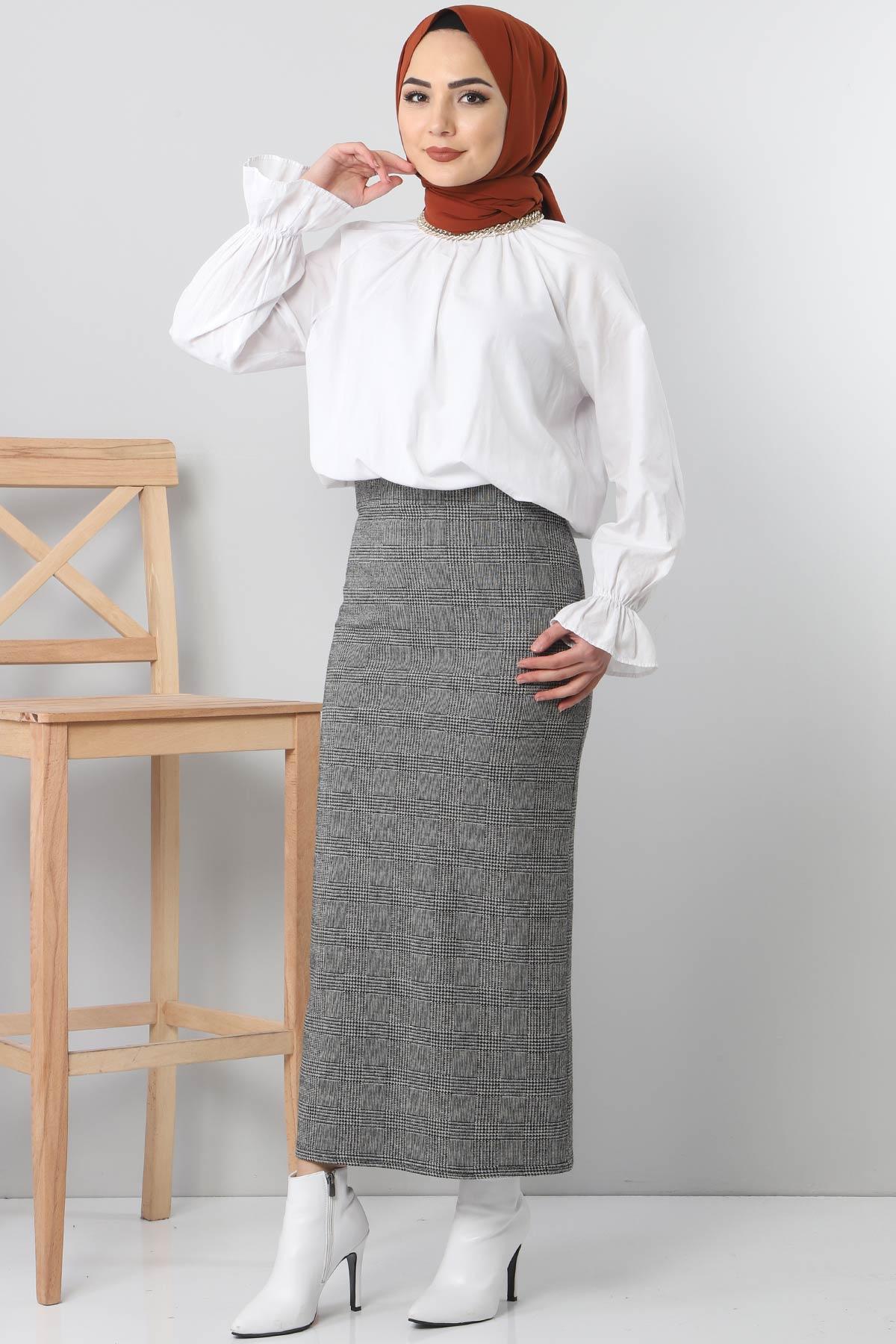 Patterned Winter Slim Skirt TSD3249 Gray
