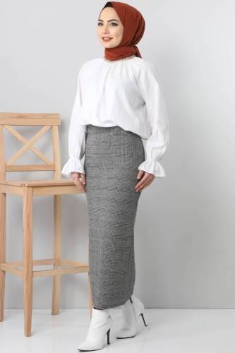 Patterned Winter Slim Skirt TSD3249 Gray - Thumbnail