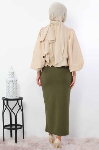 Pencil Skirt TSD0291 Khaki - Thumbnail
