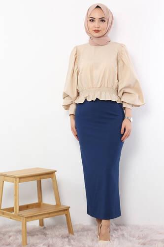 Pencil Skirt TSD0291 Petrol - Thumbnail