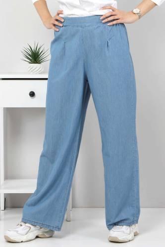 Tesettür Dünyası - Pileli Bol Paça Kot Pantolon TSD22053 Açık Mavi