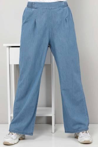 Tesettür Dünyası - Pileli Bol Paça Kot Pantolon TSD22053 Açık Mavi (1)