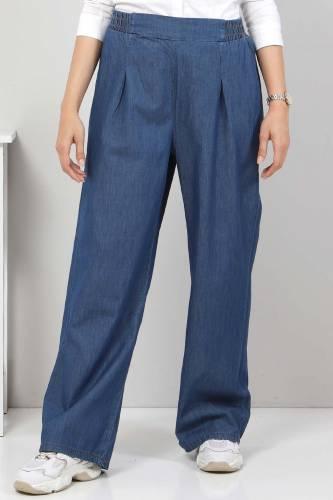 Tesettür Dünyası - Pileli Bol Paça Kot Pantolon TSD22053 Koyu Mavi
