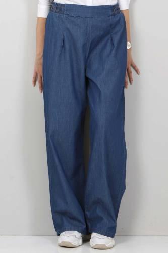 Tesettür Dünyası - Pileli Bol Paça Kot Pantolon TSD22053 Koyu Mavi (1)