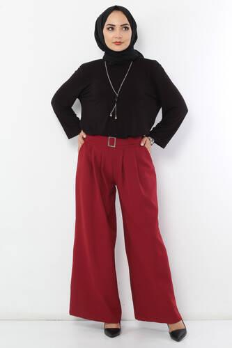 Tesettür Dünyası - Pileli Etek Pantolon TSD2789 Bordo