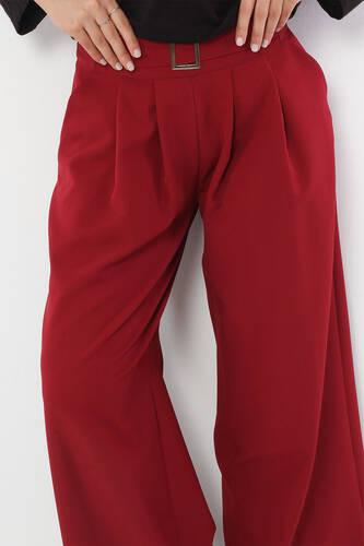 Tesettür Dünyası - Pileli Etek Pantolon TSD2789 Bordo (1)