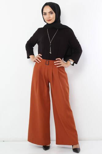 Tesettür Dünyası - Pileli Etek Pantolon TSD2789 Kiremit