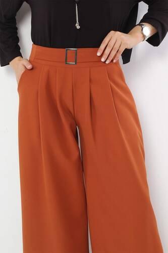 Tesettür Dünyası - Pileli Etek Pantolon TSD2789 Kiremit (1)