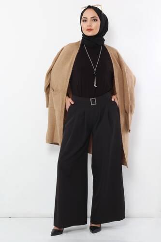 Tesettür Dünyası - Pileli Etek Pantolon TSD2789 Siyah
