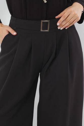 Tesettür Dünyası - Pileli Etek Pantolon TSD2789 Siyah (1)
