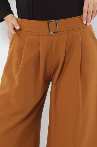 Tesettür Dünyası - Pileli Etek Pantolon TSD2789 Taba (1)