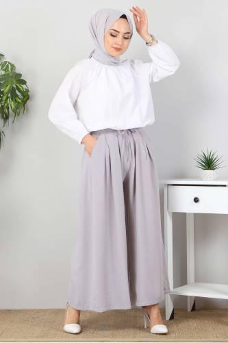 Tesettür Dünyası - Pleated Skirt Pants TSD9912 Gray