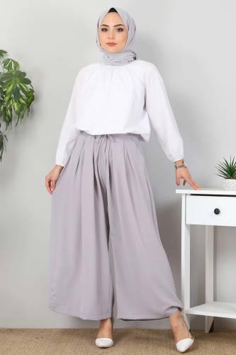 Tesettür Dünyası - Pleated Skirt Pants TSD9912 Gray (1)