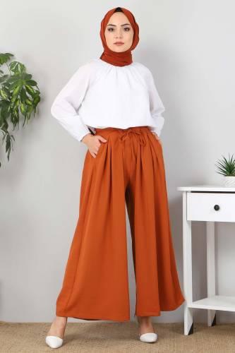 Tesettür Dünyası - Pleated Skirt Pants TSD9912 Brick Color