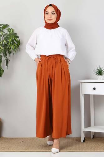 Tesettür Dünyası - Pleated Skirt Pants TSD9912 Brick Color (1)