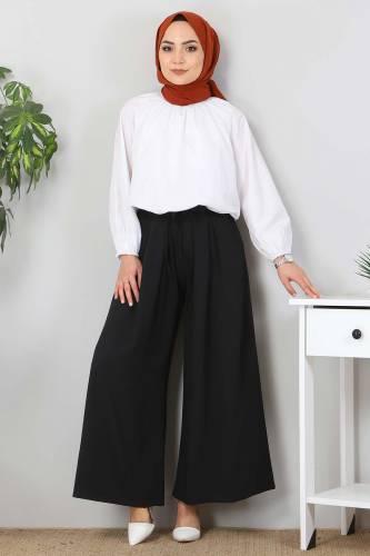 Tesettür Dünyası - Pleated Skirt Pants TSD9912 Black