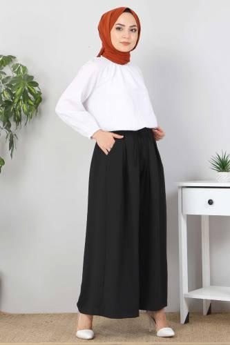 Tesettür Dünyası - Pleated Skirt Pants TSD9912 Black (1)