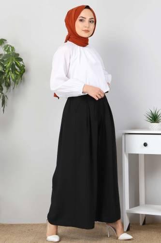 Pileli Etek Pantolon TSD9912 Siyah - Thumbnail