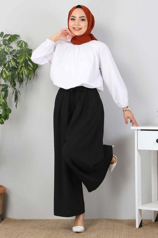 Pileli Etek Pantolon TSD9912 Siyah