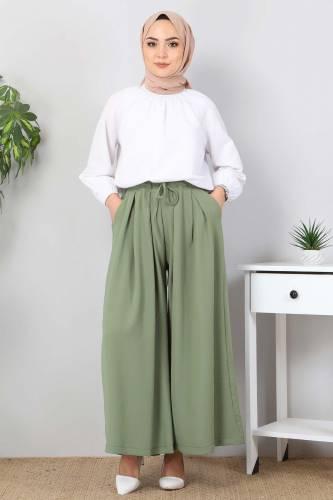 Tesettür Dünyası - Pleated Skirt Pants TSD9912 Green