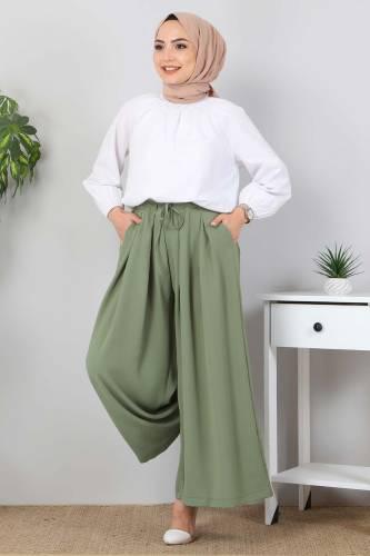 Tesettür Dünyası - Pleated Skirt Pants TSD9912 Green (1)