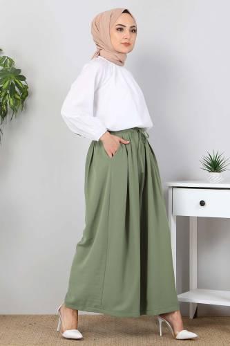 Pileli Etek Pantolon TSD9912 Yeşil - Thumbnail