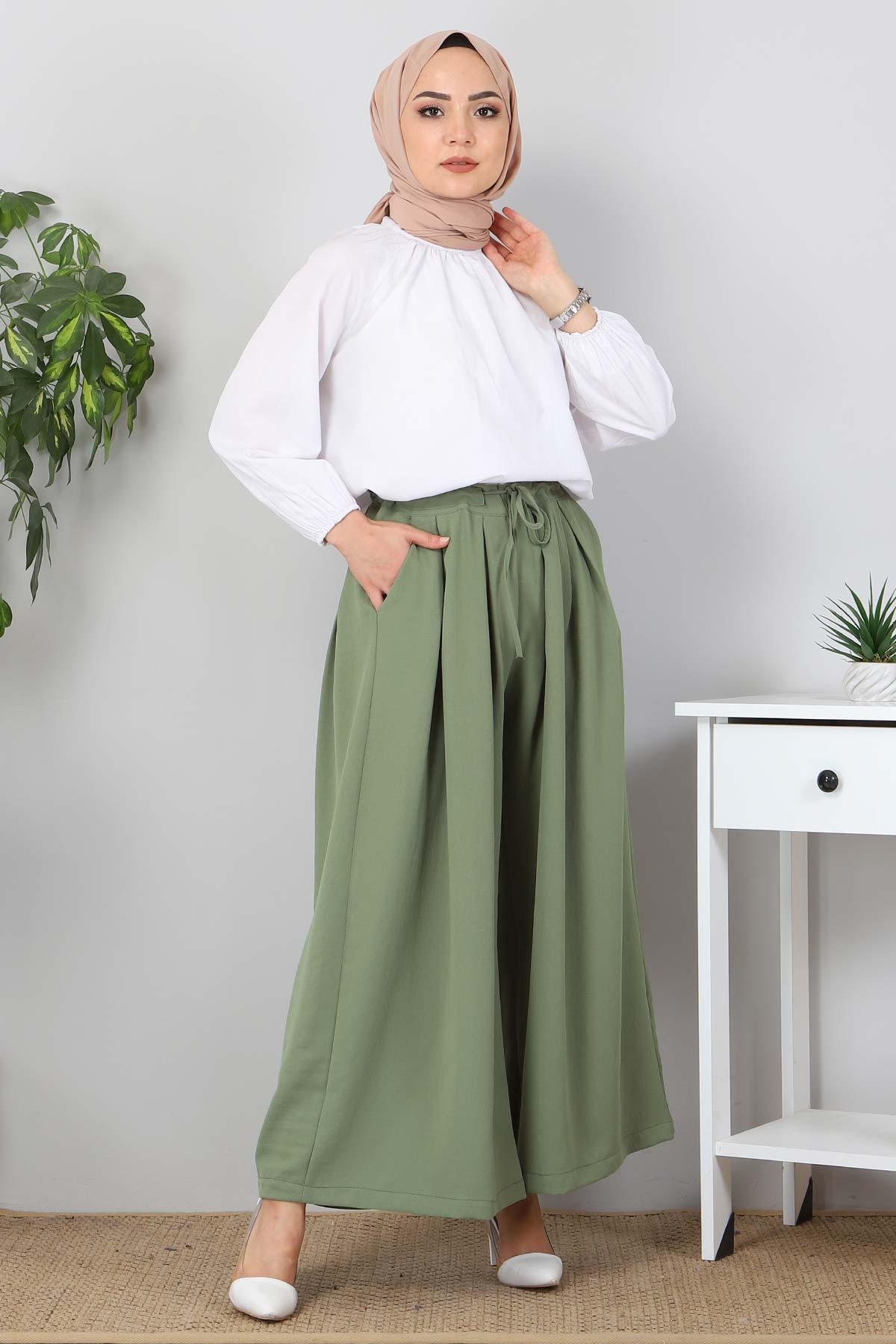 Pileli Etek Pantolon TSD9912 Yeşil