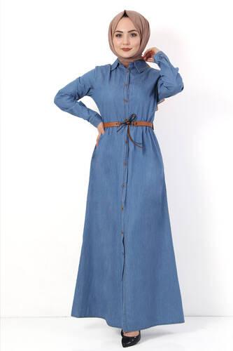 Tesettür Dünyası - Pileli Kemerli Kot Elbise TSD2982 Açık Mavi