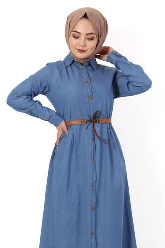 Tesettür Dünyası - Pileli Kemerli Kot Elbise TSD2982 Açık Mavi (1)