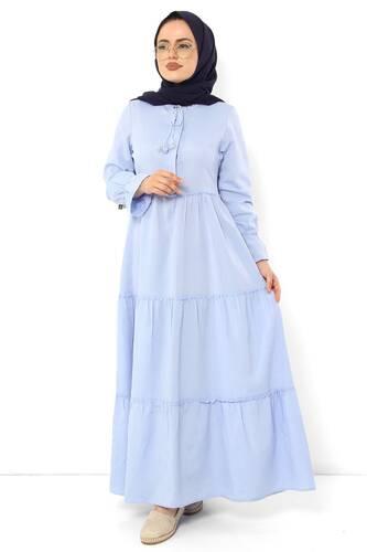 Tesettür Dünyası - Pileli Kolları Lastikli Tesettür Elbise TSD0173 Bebe Mavisi