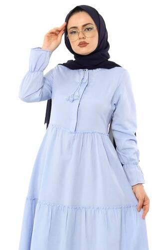 Tesettür Dünyası - Pileli Kolları Lastikli Tesettür Elbise TSD0173 Bebe Mavisi (1)